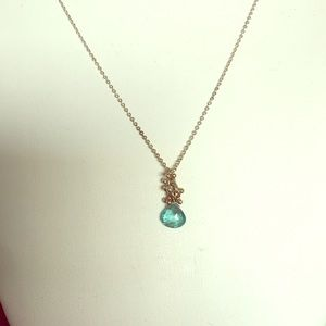 Jewelry - Sterling silver, aquamarine crystal necklace